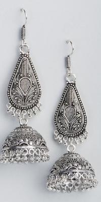 Silver jhumkas